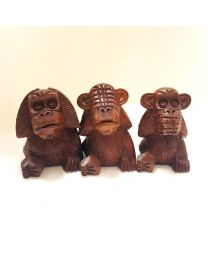 Wooden Monkeys Set - See/Hear/Speak