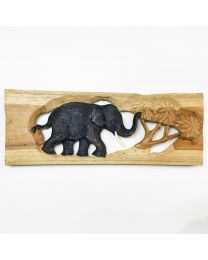 Wooden Elephant Plaque 16x6""
