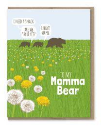 Momma Bear Dandelions Card