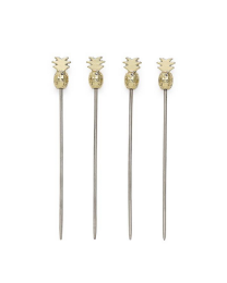Pineapple Gold Stainless Steel Cocktail Picks Set of Four