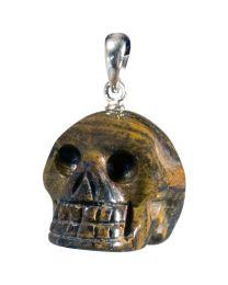 Gold Tiger's Eye Skull Pendant