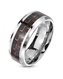Black and Red Carbon Fiber Center Ring
