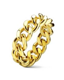 Curb Chain PVD Gold Plated S.S Ring