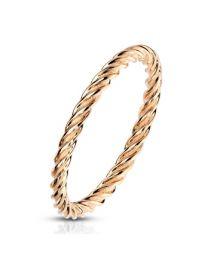 Twisted Rose Gold IP S.S Ring