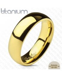 Gold IP Solid Titanium Dome Band Ring