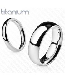Silver Glossy Mirror Band Ring Solid Titanium