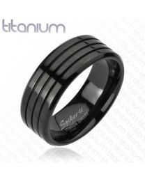 Multi Groove Black IP Band Ring Solid Titanium