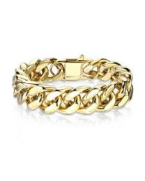 Gold Stainless Steel Square Curb Chain Bracelet