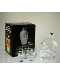 Skull Decanter with 4 Shot Glasses Set