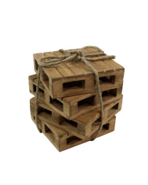 Wooden Pallet Coaster 4pc Set