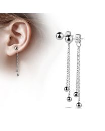Pair of Double Chained Balls w/ S.S Ball Studs - Steel