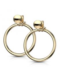 Pair of Circle Hoop Back 316L Earrings - Gold