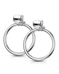 Pair of Circle Hoop Back 316L Earrings - Steel